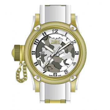 Invicta 11338 Men's Russian Diver Lefty Grey Camouflage Dial White Rubber Strap Gold Tone Stainless Steel Watch