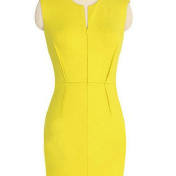 Solid Color Sheath Dress