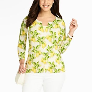 Talbots - Lemon-Print Charming Cardigan | | Woman Discover your new look at Talbots. Shop our Lemon-Print Charming Cardigan for stylish clothing and accessories with a modern twist at Talbots
