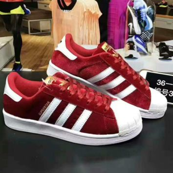 """""""ADIDAS"""" Trending Fashion Casual Sports Shoes Red white line"""