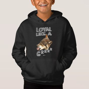 Loyal Wolf Quote Design by Kat Worth Hoodie