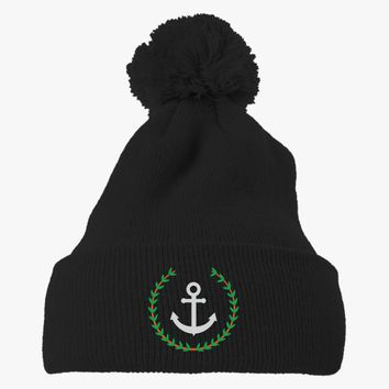 Pablo Escobar's Anchor Embroidered Knit Pom Cap