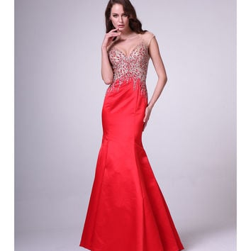 Red Illusion Cap Sleeve V-Neck Dress 2015 Prom Dresses