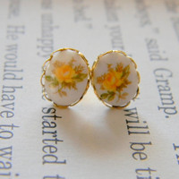 Ruthie. vintage yellow rose cameo post earrings