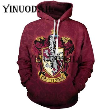 YINUODAIL Harri Potter 3D Printed Hoodie with Pocket Ravenclaw Gryffindor for Adult Unisex Harry Potter Sweatshirt Costume