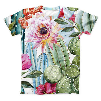 The Vintage Watercolor Cactus Bloom ink-Fuzed Unisex All Over Full-Printed Fitted Tee Shirt