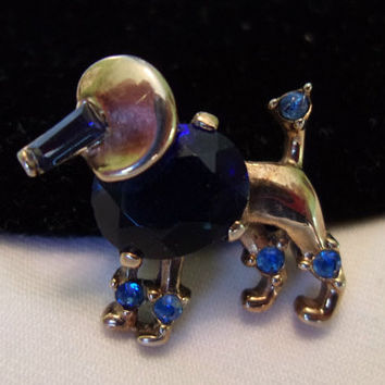 Trifari 1949 Miniature Poodle Dog Pin Brooch Vintage Blue Glass Rhinestone Jelly Stone Belly  Gold Plate Alfred Philippe