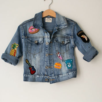 Kid's Over-sized Boho Hippie Festival Patch Denim Jean Jacket