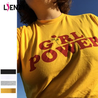 Summer Girl Power Rose T Shirt Letter White Yellow Grey Black Cotton Ladies T-Shirt Tops