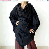 SALE30%OFF New Design Hoodie Poncho Drawstring Fashion,Long Sleeve Unique Styling,Black Cotton Jersey By Thaisaket.