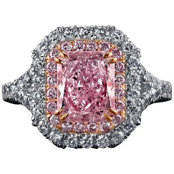 Natural Fancy Pink Diamond Gold Platinum Ring