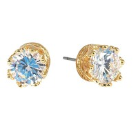 "Cubic Zirconia Earrings Round Gold Plated Stud 9 mm, 0.35"" Diameter"