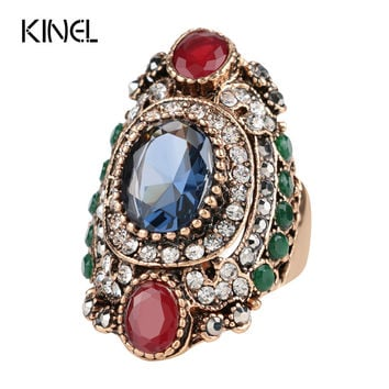 Turkey Jewellery Blue Turquoise Vintage Wedding Rings For Women Plating Antique Gold Unique Punk Rock Crystal Resin Ring Gift