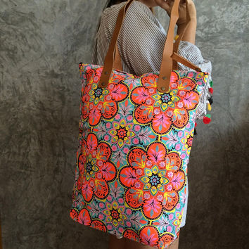 Orange Tote Bag / Summer / Bridesmaid gift / Bachelorette Party / Boho Beach Bag / Tote bag / Canvas Boho bag / mothers day gift