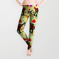 Santa with friends and season love Leggings by Pepita Selles