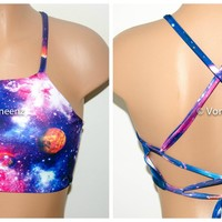 Galaxy Print High Neck Halter Bikini Top, Criss Cross Adjustable Swimwear Bikini Top, Festival Top