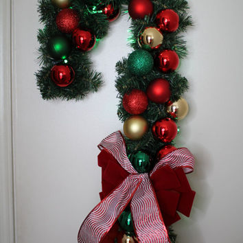 beautiful candy cane christmas w40 green led light door wreath - Candy Cane Christmas Shop