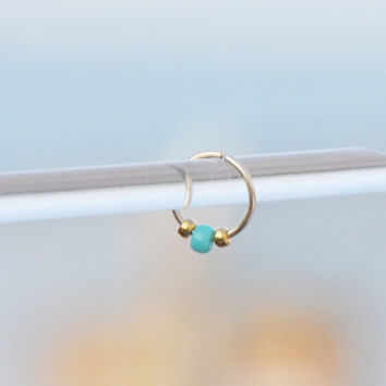 Gold Filled Nose Ring, Nose Ring, Turquoise Nose Ring, 24,22,20 Gauge, Piercing, Body Jewelry