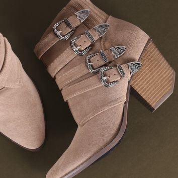 Suede Buckled Strap Chunky Heeled Ankle Boots