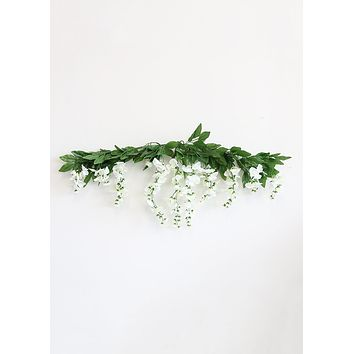 "Artificial Hanging Wisteria Garland Swag in White - 36"" Wide"