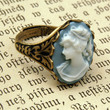Blue Lady Cameo Ring - RagTraderVintage.com
