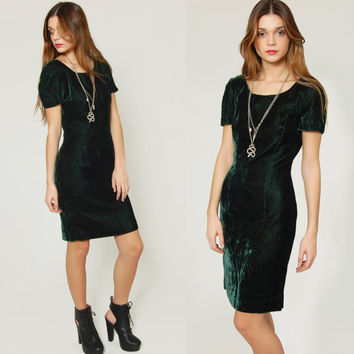 Vintage 80s VELVET Emerald Green Mini Dress ANN TAYLOR Body Con Cocktail Dress Party Dress