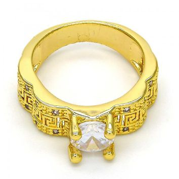 Gold Layered Mult-stone Ring, Greek Key Design, with Cubic Zirconia and Micro Pave, Golden Tone