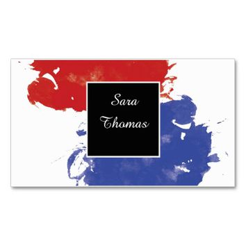Classy Watercolor Blue & Red Custom Double-Sided Standard Business Cards (Pack Of 100)