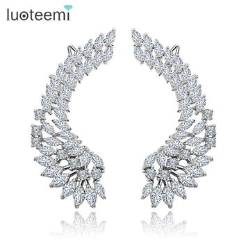 Pendant Earrings Womens  Crystal Angel Wings Sterling Silver Jewelry for Women