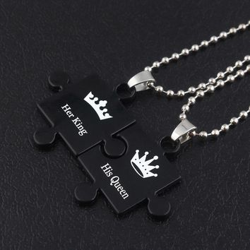 SG Newest Her King Her Queen Letter Couple Necklaces Pendants Hot Sell Black Jigsaw Shape Women Men Lover Valentine's Day Gift