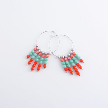 Boho sterling silver hoop earrings | Pink, turquoise, and red beaded earrings