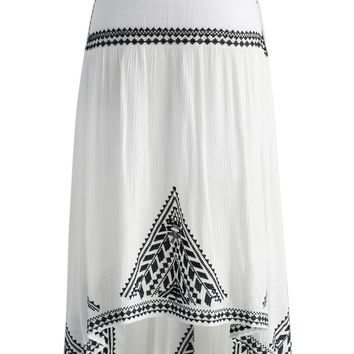Folksy Miracle Hi-lo Crepe Skirt in White
