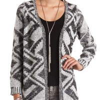 Marled Geo Open Cardigan Sweater by Charlotte Russe