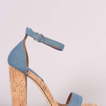 Cork and Denim Chunky Heel