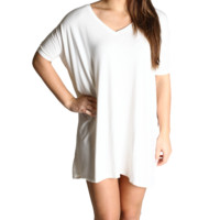 Off White Piko Tunic V-Neck Short Sleeve Dress