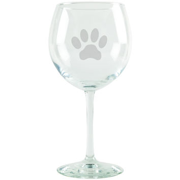 Dog Paw Print Etched Red Wine Glass