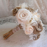 SALE Ready to Ship! Burlap Rose & Sola Flower Bridal Bouquet, Handmade of burlap roses, sola flowers, babies breath, lace.