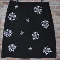 Grace Dane Lewis Sz 12 Skirt Black White Cut Out Flowers Lined Cotton Spandex