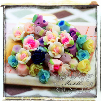 Mix Diy Starter Assortment Kits: 40 PCS Polymer Clay Small Mini Tiny Flowers Roses Cabochons Flat Back -Nail Art Assorted Set (FL15M)