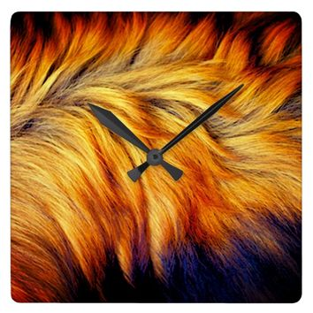 Cool horse tail fur texture trendy design square wall clock