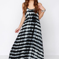 In Festival Force Black Tie-Dye Maxi Dress