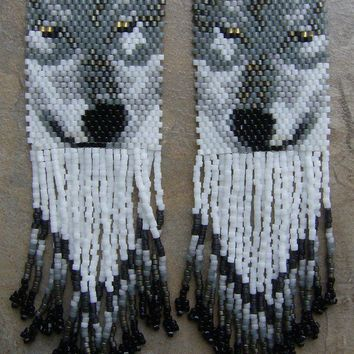 Wolf Eyes Earrings Hand Made Seed Beaded