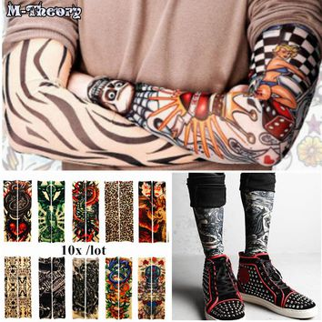 10 pcs Sleeve Arm 3D Tattoo Biker Stockings Leggings Elastic Henna Temporary Flash Tattoo Tatoo Body Arts Makeup Tools