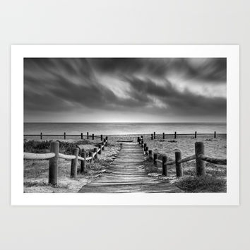 """To the beach...."" BW. At sunset Art Print by Guido Montañés"
