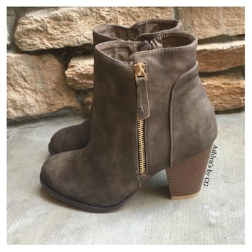 Style And Flare Always Faithful Taupe Heel Bootie Boots