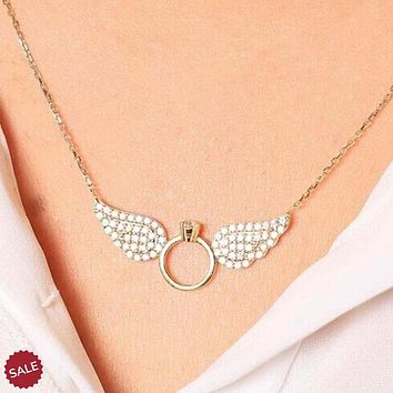 Angel Wings Ring Pendants Necklace