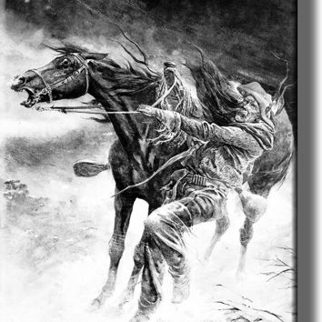 Cowboy and Horse in a Blizzard Picture on Acrylic Wall Art Décor Framed Ready to Hang!