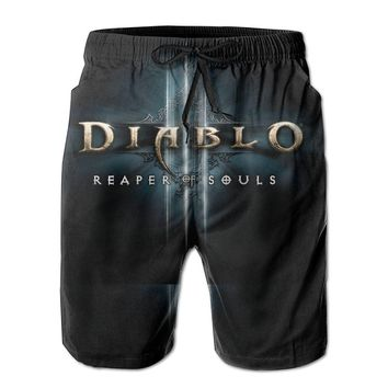 Diablo 3 Reaper Of Souls Logo Mens Fashion Casual Beach Shorts