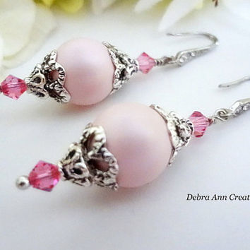 Swarovski Pink Pearl Rose Crystal Earrings Antique Silver Pink Bridesmaid Earrings Pink Wedding Pink Bridal Jewelry Pink Pearl Earrings Gift