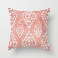 mint & coral tribal pattern (2) Throw Pillow by daniellebourland